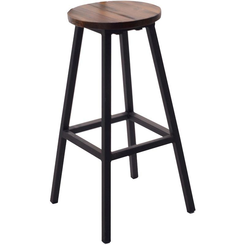 Sgabello sedia alto in legno marrone e ferro nero con poggiapiedi per tavolo bar ristorante da locale pub birreria pizzeria struttura antiruggine