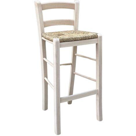 Sedie E Sgabelli Legno.Sgabello Sedia Con Schienale In Legno Massello Grezzo E Seduta In Paglia 67 Cm