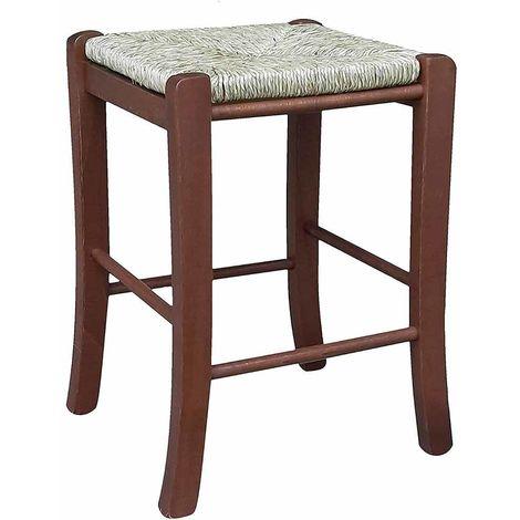 Sedie E Sgabelli Legno.Sgabello Sedia In Legno E Seduta In Paglia Noce Scuro H Cm 47