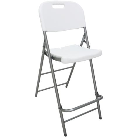Sedie Di Plastica Pieghevoli.Sgabello Sedia Pieghevole Alto In Dura Resina Di Plastica Bianco Per