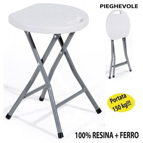 Sedie Di Plastica Pieghevoli.Sgabello Sedia Rotondo Pieghevole H 46 Cm In Dura Resina Di Plastica