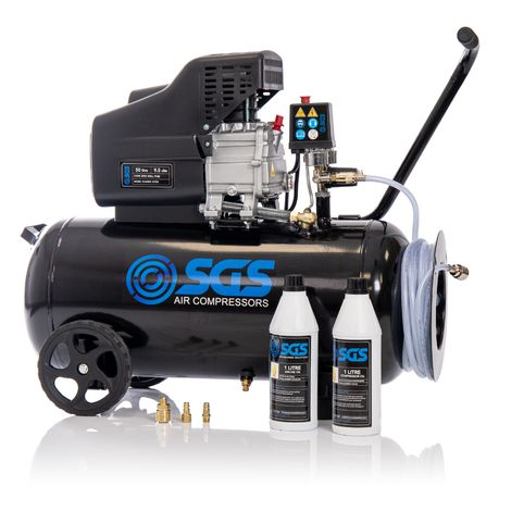 SGS 50 Litre Direct Drive Air Compressor with Starter Kit - 9.5CFM, 2.5HP, 50L