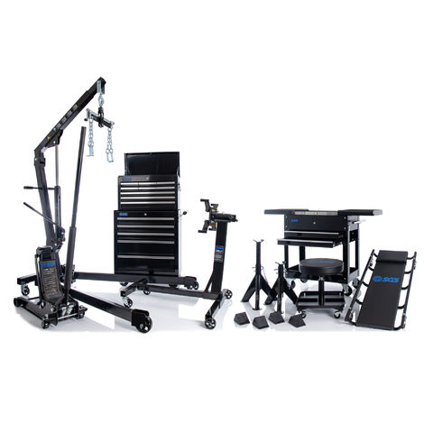 SGS Serious Garage Equipment Bundle: Tool Chest, Trolley Jack, Engine Crane, Creeper & More