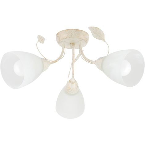 Shabby Chic Cream Brushed Gold 3 Way Floral Ceiling Light Marbled Glass Shades