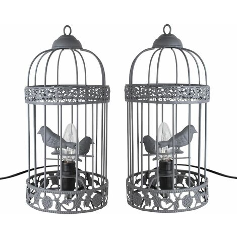 Shabby Chic Grey Birdcage Table Lamp / Bedside Light Bedroom