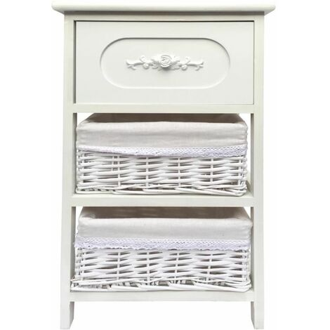 Shabby Chic White 3 Chest of Drawer Hallway Bathroom Bedside Table Unit Cabinet [Wider Unit 36x30x60cm]