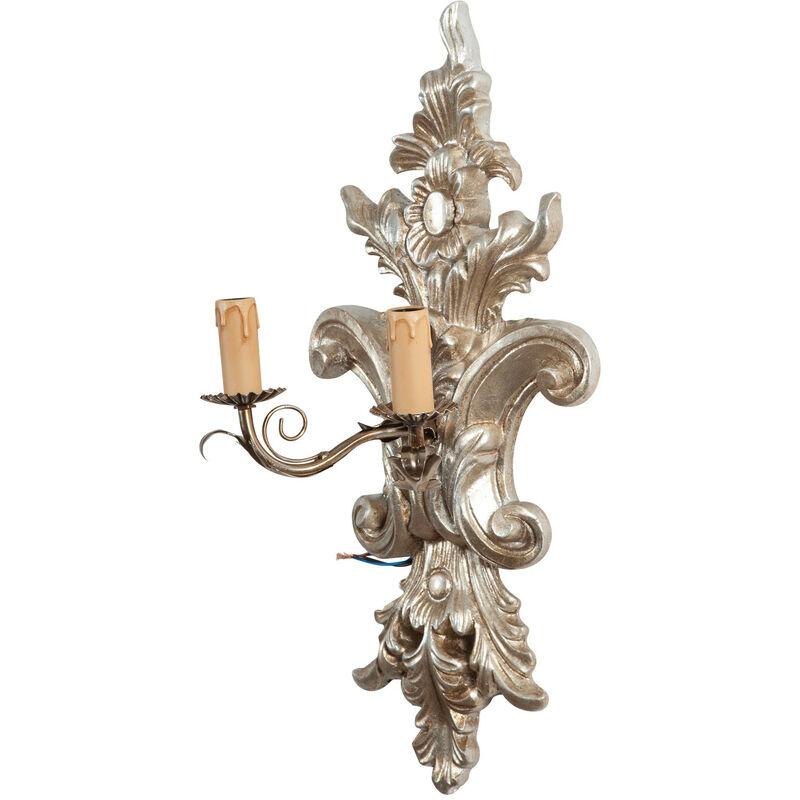 Shabby Wandleuchte in Holz und Eisen Antik Silber Blatt Finish Made In Italy