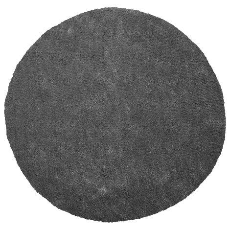Shaggy Round Area Rug ø 140 cm Dark Grey DEMRE