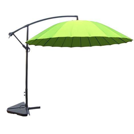 Shanghai vert : parasol déporté et inclinable rond Ø3m