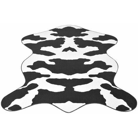 Shaped Rug 150x220 cm Black Cow Print