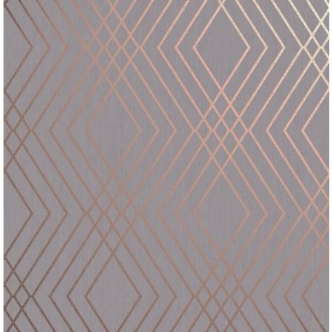 Shard Trellis Wallpaper Rose Gold Grey Geometric Metallic Fine Decor