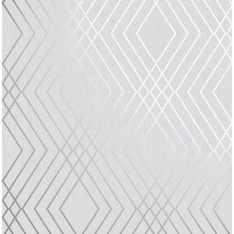 Shard Trellis Wallpaper Silver Grey Geometric Metallic Fine Decor