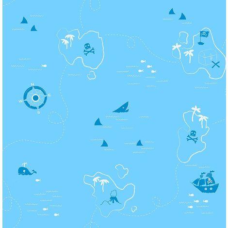 Shark Pirate Treasure Map Wallpaper Boys Blue White Compass Fine Decor
