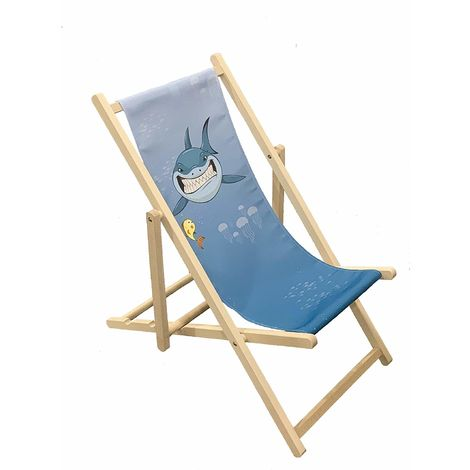 Shark - Wooden Folding Decking Chair for Kids Outdoor Garden Patio Balcony Camping