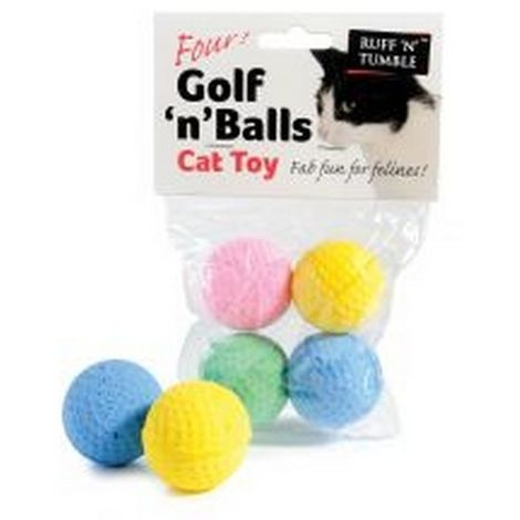 Sharples Ruff ´N´ Tumble Golf ´N´ Balls Assorted Cat Toy 4 Pack - ASRTD (One Size) (May Vary)