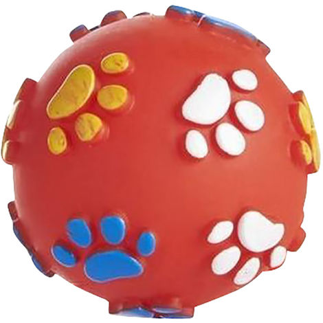 Sharples Squeaky Dog Toy Paw Ball (7.6cm) (Red)
