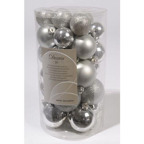 Shatterproof Mixed 30 Chrismas Baubles - Silver- Various Sizes