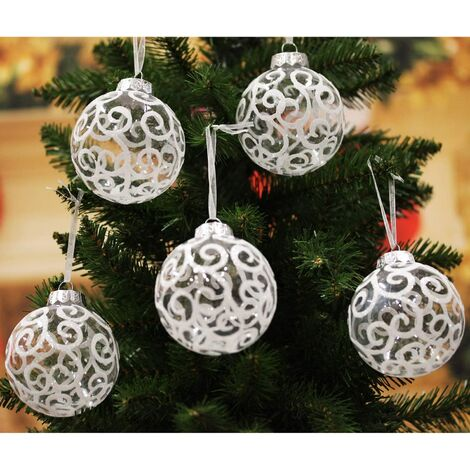 """main image of """"Shatterproof White Christmas Tree Ball Ornaments, Transparent Swirl, 3.15 inch, Set of 12"""""""