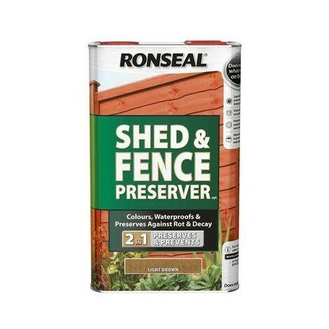 Ronseal 37649 Shed & Fence Preserver Light Brown 5 Litre