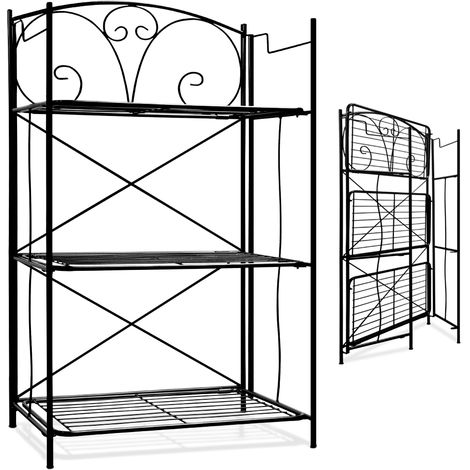 Shelf Black Metal Folding Free Standing Quick Assembly Patio Conversatory Indoor Outdoor