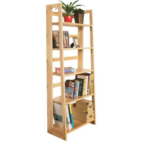 Shelf unit, 5 tier tropical hevea wood, folding