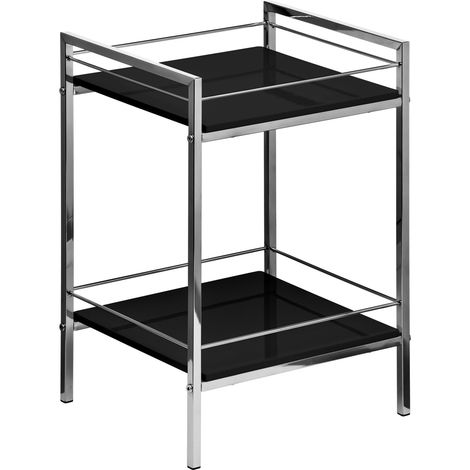 Shelf unit,2 tier black high gloss, chrome finish frame