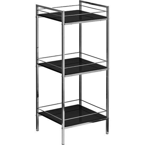 Shelf unit,3 tier black high gloss, chrome finish frame