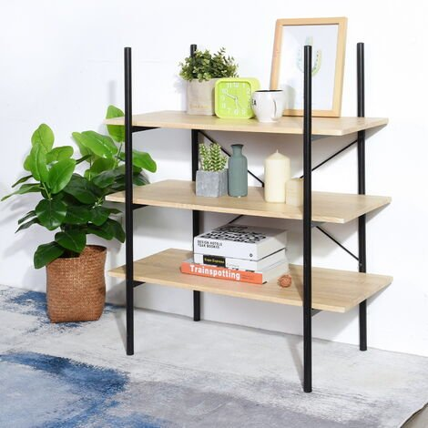 Shelf with 3 stairs Steel storage support Wooden support Light oak + black 80x40x98,5cm
