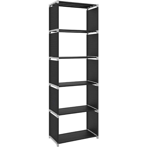 Shelf with 5 Open Cubes, Display Cabinet, Bookcase with Open Shelves for Home/Studio/Living Room Organiser, 50 x 30 x 180 cm (W x D x H), Black LSN15H