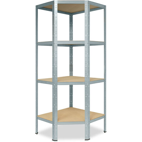 shelfplaza® HOME Eckregal 155x70x40 cm verzinkt mit 4 Böden - Steckregal für unsere 40 Tiefen