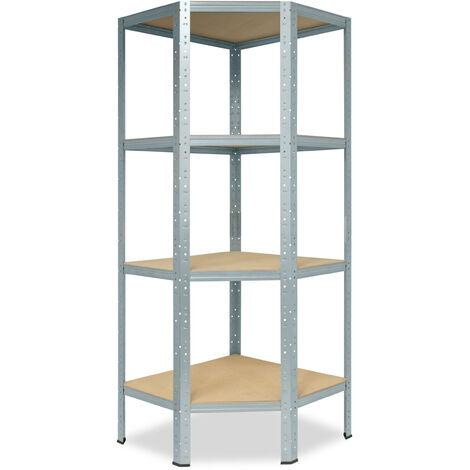 shelfplaza® HOME Eckregal 155x90x60 cm verzinkt mit 4 Böden - Steckregal für unsere 60 Tiefen