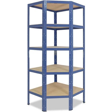 shelfplaza® HOME Eckregal 180x80x50 cm blau mit 5 Böden - Steckregal für unsere 50 Tiefen