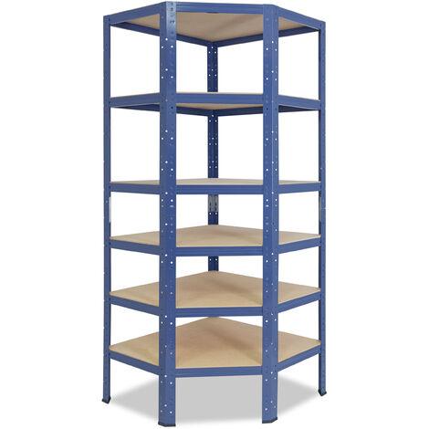 shelfplaza® HOME Eckregal 180x80x50 cm blau mit 6 Böden - Steckregal für unsere 50 Tiefen
