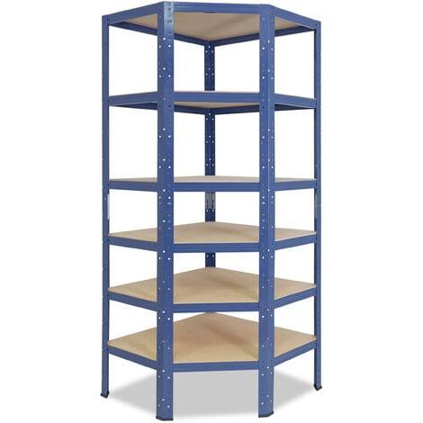 shelfplaza® HOME Eckregal 180x90x60 cm blau mit 6 Böden - Steckregal für unsere 60 Tiefen
