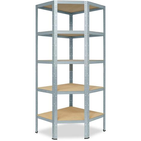 shelfplaza® HOME Eckregal 180x90x60 cm verzinkt mit 5 Böden - Steckregal für unsere 60 Tiefen