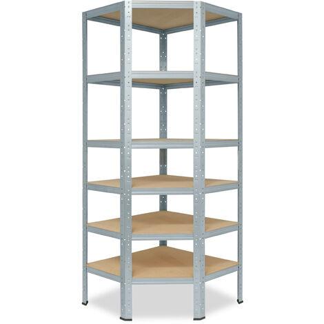 shelfplaza® HOME Eckregal 180x90x60 cm verzinkt mit 6 Böden - Steckregal für unsere 60 Tiefen