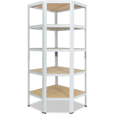 shelfplaza® HOME Eckregal 200x70x40 cm weiß mit 5 Böden - Steckregal für unsere 40 Tiefen