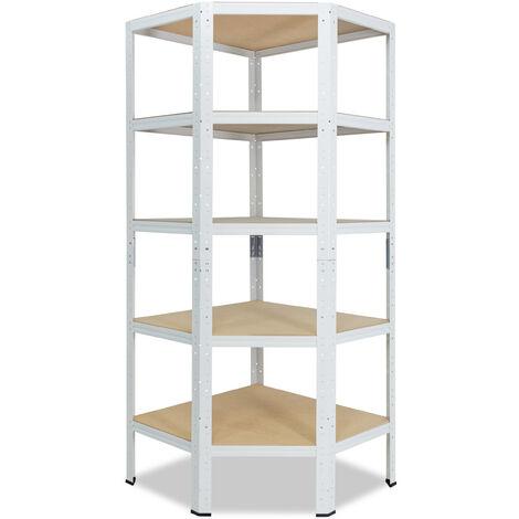 shelfplaza® HOME Eckregal 200x70x45 cm weiß mit 5 Böden - Steckregal für unsere 45 Tiefen