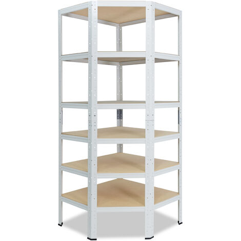 shelfplaza® HOME Eckregal 200x80x50 cm weiß mit 6 Böden - Steckregal für unsere 50 Tiefen