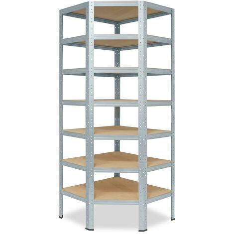 shelfplaza® HOME Eckregal 230x80x50 cm verzinkt mit 7 Böden - Steckregal für unsere 50 Tiefen