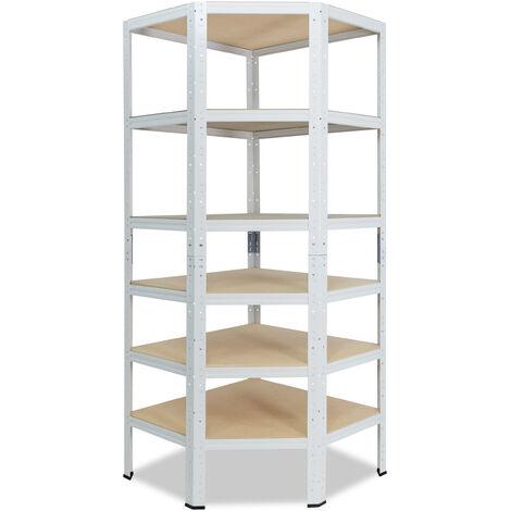 shelfplaza® HOME Eckregal 230x80x50 cm weiß mit 6 Böden - Steckregal für unsere 50 Tiefen