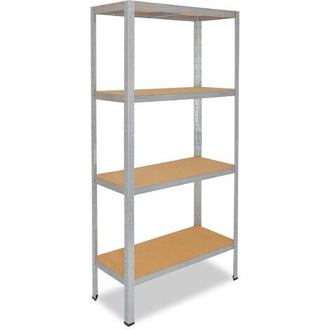 shelfplaza® HOME Steckregal 180x100x60 cm verzinkt mit 4 Böden