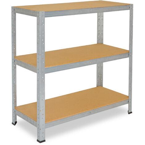 shelfplaza® HOME Steckregal 90x60x40 cm verzinkt mit 3 Böden