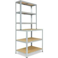 shelfplaza® HOME Werkbank Regal 190x100x60 cm mit 6 Böden in verzinkt