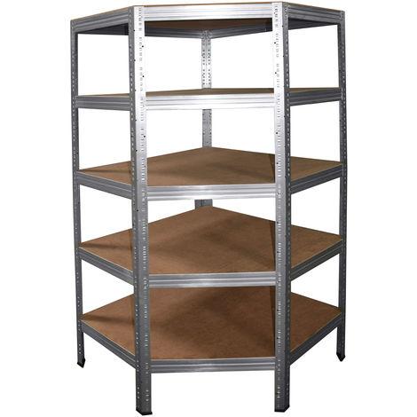 shelfplaza® PROFI Eckregal 180x90x60 cm verzinkt mit 5 Böden - Steckregal für unsere 60 Tiefen