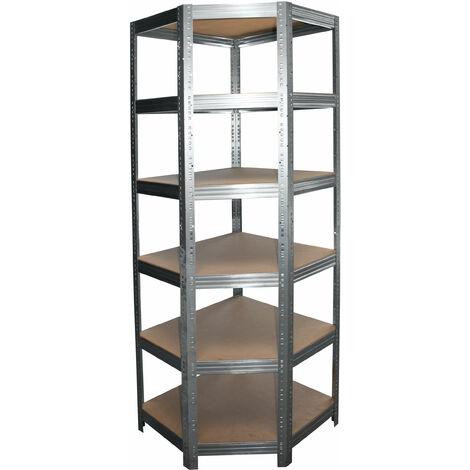 shelfplaza® PROFI Eckregal 230x90x60 cm verzinkt mit 6 Böden - Steckregal für unsere 60 Tiefen
