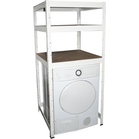 shelfplaza® PROFI Waschmaschinenregal 155x70x70 cm mit 3 Böden in weiß