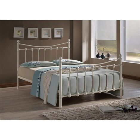 Shell Detailed Ivory Metal Bed Frame - Double 4ft 6""