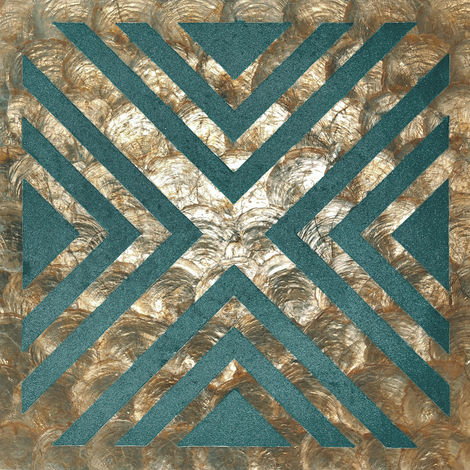 Shell wall covering WallFace LU010-5 CAPIZ decorative tile set hand-crafted with real shells und glass beads mother-of-pearl look bronze green-blue beige 1 m2