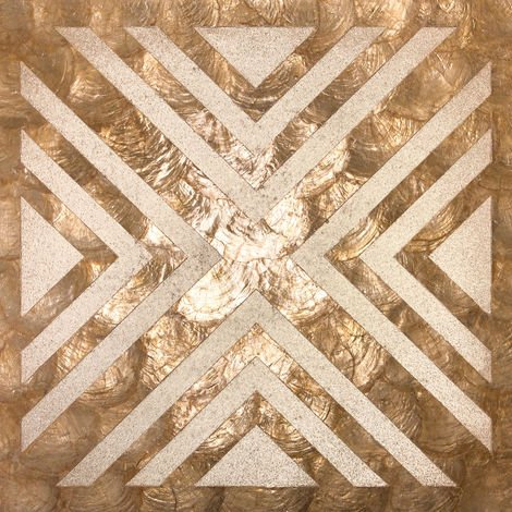 Shell wall covering WallFace LU04-5 CAPIZ decorative tile set hand-crafted with real shells und glass beads mother-of-pearl look beige brown bronze 1 m2